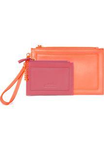 Clutch Customizável Com Porta Cartão - Laranja E Rosa