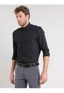 Camisa Masculina Comfort Texturizada Manga Longa Preta