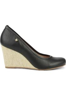 Sapato Anabela- Preto & Bege- Salto: 8Cmcravo & Canela
