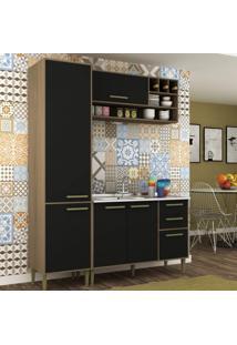 Cozinha Compacta 3 Peças 5 Portas Vitória Siena Móveis Avelã Tx/Onix