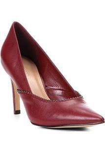 Scarpin Couro Shoestock Salto Alto Glam - Feminino-Vinho