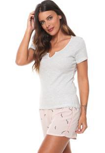 Pijama Hering Estampado Cinza/Rosa
