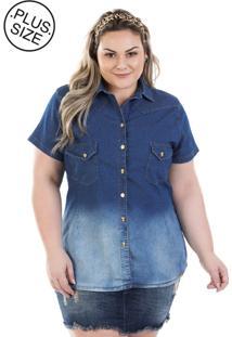 Camisa Feminina Jeans Vinil Com Bolso E Elastano Plus Size