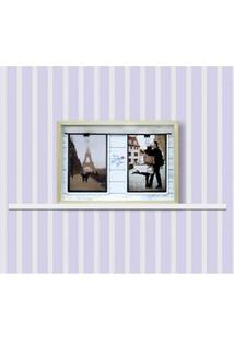 Painel Quadrado Para Fotos Kapos Namorados Em Madeira 22 X 32 Cm - Natural