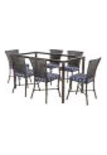 Jogo De Jantar 6 Cadeiras Turquia Tabaco A31 E 1 Mesa Retangular Sem Tampo Ideal Para Área Externa Coberta
