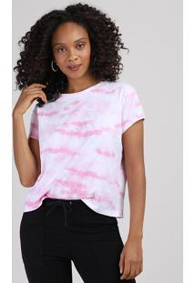Blusa Feminina Ampla Estampada Tie Dye Manga Curta Decote Redondo Rosa