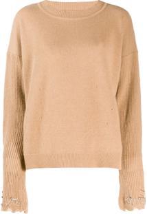 Pinko Embellished Sleeve Sweater - Marrom