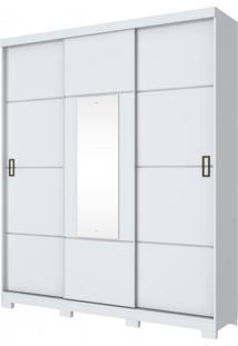 Guarda Roupa Solteiro 1 Espelho 3 Portas De Correr Silver Henn Branco