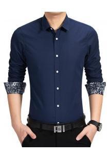 Camisa Masculina Manga Longa Com Detalhe Floral - Azul Marinho