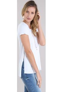 90b988fcf5 CEA. Blusa Feminina Longa Básica Manga Curta Decote Redondo Branca