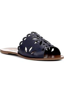 Rasteira Couro Shoestock Slide Flor - Feminino-Marinho