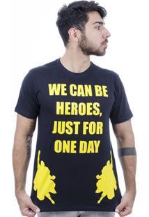 Camiseta Hardivision Heroes Manga Curta - Masculino-Preto+Amarelo