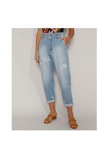 Calça Jeans Feminina Sawary Baggy Cintura Super Alta Com Rasgos Azul Claro