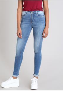 Calça Jeans Feminina Sawary Compressora Super Skinny Azul Médio