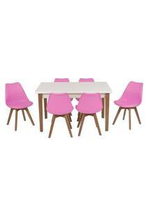 Conjunto Mesa De Jantar Luiza 135Cm Branca Com 6 Cadeiras Leda - Rosa