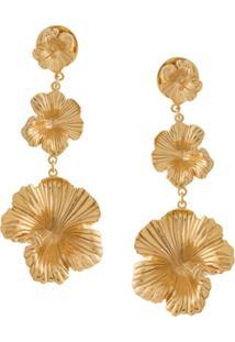 Meadowlark Par De Brincos Longos 'Coral' Banhados A Ouro - Metálico