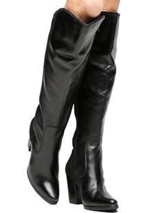 Bota Couro Over The Knee Shoestock Salto Grosso Feminina - Feminino-Preto