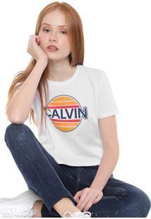 Camiseta Calvin Klein Jeans Cropped Sunny Branca