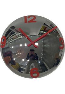 Relógio De Parede Decorativo Espelhado Cor Vermelho 28X28X10 - Tricae