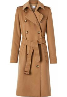 Burberry Trench Coat De Cashmere - Marrom