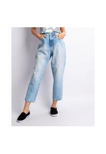 Calça Jeans Mom Feminino Lavagem Clara Com Rebite Jeans