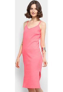 Vestido Aura Midi Tubinho Canelado Neon - Feminino-Pink