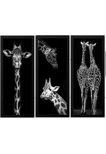 Quadro 33X63 (3Und.)Nerderia Lojaria Girafa Preto