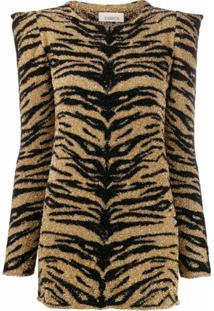 Laneus Blusa Com Estampa De Tigre E Brilho - Dourado