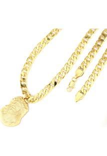 Pingente Face De Cristo Corrente 8Mm Tudo Jóias Folheado A Ouro 18K Dourada