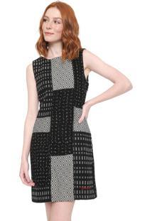 Vestido Desigual Curto Olas Preto/Branco