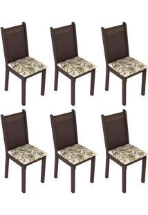 Kit 6 Cadeiras 4290 Tabaco E Lírio Bege Madesa