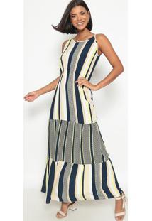 Vestido Listrado- Bege & Azul Marinhovip Reserva