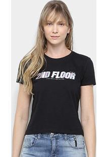 Camiseta Ellus 2Nd Floor Glitch Feminina - Feminino-Preto