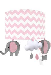 Arandela Potinho De Mel Meia Lua Elefante Balão Rosa Quarto Bebê Infantil Menina - Kanui