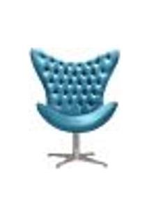 Poltrona Decorativa Egg Com Capitonê Pé Giratório Alumínio Para Sala, Tv Estar - Veludo Azul