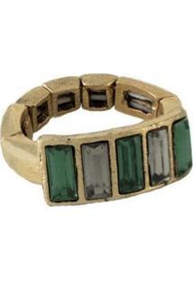 Anel Armazem Rr Bijoux Pedras Verdes Dourado - Tricae