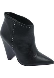 Ankle Boot Leticia Com Recortes - Preto - Salto: 12Cle Lis Blanc