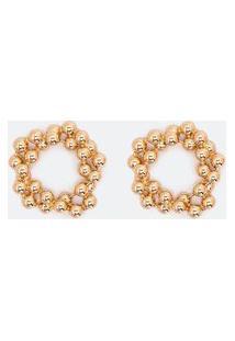 Brinco Pequeno Formato Circular Com Bolinhas Entrelaçadas | Accessories | Dourado | U