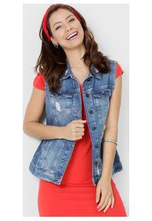 Colete Feminino Jeans Puídos Marisa