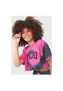 Camiseta Cropped John John Acid Tie Dye Rosa