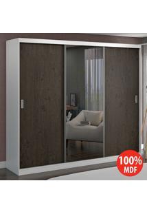 Guarda Roupa 3 Portas Com 1 Espelho 100% Mdf 7320E1 Branco/Málaga - Foscarini