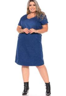 Vestido Curto Almaria Plus Size Fact Jeans Azul