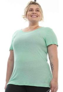 Blusa Plus Size Rosa Dourada Esportiva Ribana - Feminino-Azul Claro