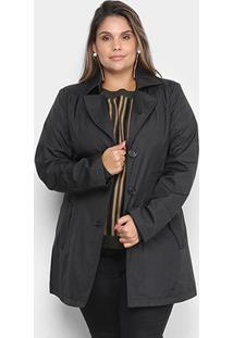 Jaqueta City Lady Plus Size Trench Coat Feminina - Feminino-Preto