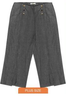 Calça Plus Size Pantacourt Secret Glam Cinza