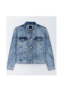 Jaqueta Jeans Com Recortes E Bolsos Comfy | Blue Steel | Azul | Pp