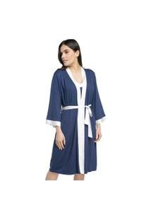 Robe Feminino Curto Azul Intenso Com Cetim Off White