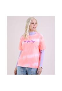 "Blusa Feminina Ampla Empathy"" Estampada Tie Dye Manga Curta Decote Redondo Coral"""