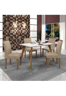 Conjunto De Mesa De Jantar Lavinia Com 4 Cadeiras Pampulha Ii Linho Imbuia Mel Branco