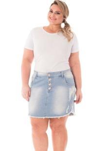 e6409f57fc ... Saia Confidencial Extra Plus Size Jeans Com Botões E Barra Desfiada  Feminina - Feminino